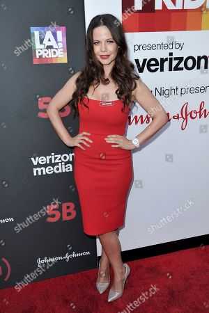 """Tammin Sursok attends the U.S. premiere of the documentary Film """"5B"""" during the opening night of LA Pride Festival, in West Hollywood, Calif"""