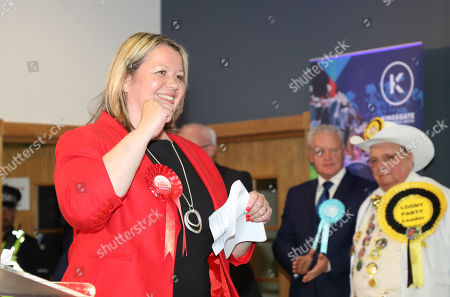 "Lisa Forbes (Labour Party Candidate) celebrates winning the seat for Peterborough with the second placed Mike Greene (Brexit Party candidate), and Alan ""Howling Laud"" Hope (Official Monster Raving Loony Party Candidate) behind. The by-election was held in Peterborough today after disgraced MP Fiona Onasanya was removed from her post as Peterborough MP when over 19,000 signed a recall petition, following her court appearance over a speeding ticket, and her spell in jail."