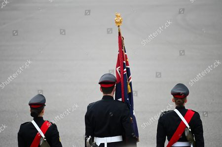 The Queen's Colours are seen during the Queen's Birthday Parade for the 'Trooping of the Queen's Colour' at the Royal Military College, Duntroon in Canberra, Australia, 08 June 2019. The parade is the final public appearance in military uniform for the Honourable Sir Peter Cosgrove, AK MC (Retd), Governor-General of Australia, before he retires in June.
