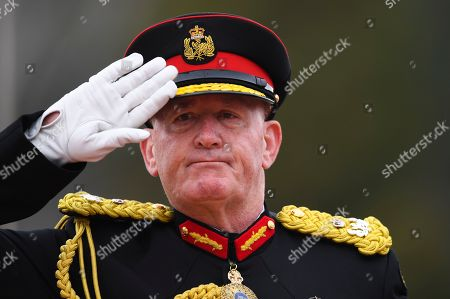 Australian Governor-General Sir Peter Cosgrove salutes during the Queen's Birthday Parade for the 'Trooping of the Queen's Colour' at the Royal Military College, Duntroon in Canberra, Australia, 08 June 2019. The parade is the final public appearance in military uniform for the Honourable Sir Peter Cosgrove, AK MC (Retd), Governor-General of Australia, before he retires in June.
