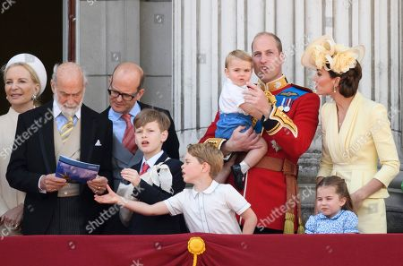 Princess Michael of Kent, Prince Michael of Kent, Albert Windsor, Prince William, Catherine Duchess of Cambridge, Prince Louis, Prince George and Princess Charlotte