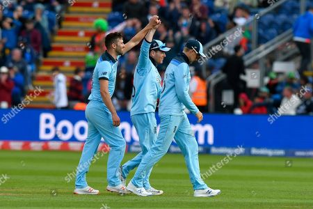 Wicket - Mark Wood of England celebrates taking the wicket of Mohammad Mahmudullah Riyad of Bangladesh during the ICC Cricket World Cup 2019 match between England and Bangladesh the Cardiff Wales Stadium at Sophia Gardens, Cardiff