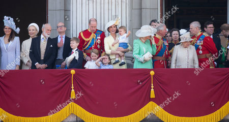 Princess Michael of Kent, Duke of Kent, Prince William, Catherine Duchess of Cambridge, Prince Louis, Prince George and Princess Charlotte