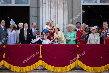 Princess Michael of Kent, Duke of Kent, Prince William, Catherine Duchess of Cambridge, Prince Louis, Prince George and Princess Charlotte, Camilla Duchess of Cornwall, Tim Laurence, Prince Charles and Queen Elizabeth II