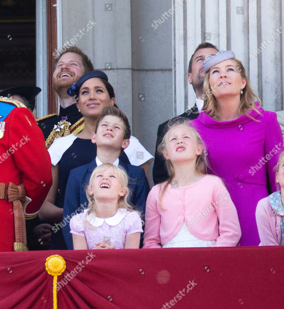 Prince Harry, Meghan Duchess of Sussex, Peter Philips, Autumn Phillips, Savannah Phillips and Isla Phillips