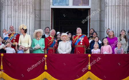 Members of the Royal family including Prince Harry, Meghan Duchess of Sussex, Peter Philips, Autumn Phillips, Savannah Phillips and Isla Phillips