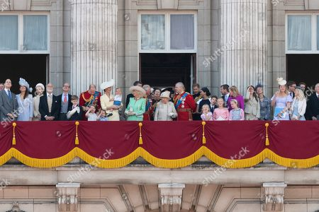 Princess Michael of Kent, Duke of Kent, Prince William, Catherine Duchess of Cambridge, Prince Louis, Prince George and Princess Charlotte, Camilla Duchess of Cornwall, Tim Laurence, Prince Charles, Princess Anne, Queen Elizabeth II and Prince Andrew