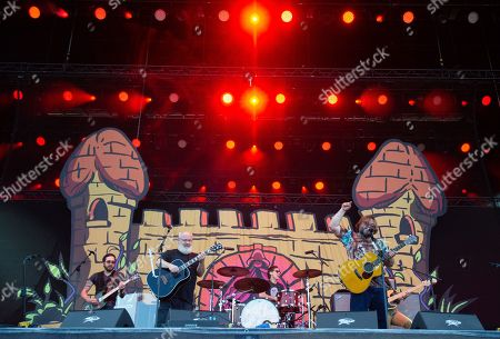 Jack Black (R) and Kyle Gass (2-L) of the US rock band Tenacious D perform on the Zeppelin stage at the 'Rock im Park' festival in Nuremberg, Germany, 08 June 2019. The festival takes place from 07 to 09 June.