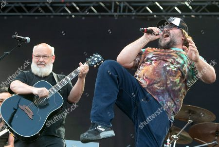 Jack Black (R) and Kyle Gass (L) of the US rock band Tenacious D perform on the Zeppelin stage at the 'Rock im Park' festival in Nuremberg, Germany, 08 June 2019. The festival takes place from 07 to 09 June.