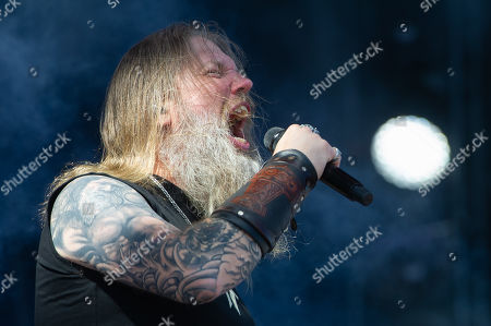 Johan Hegg of the Swedish metal band Amon Amarth performs on Zeppelin stage at the 'Rock im Park' festival in Nuremberg, Germany, 08 June 2019. The festival takes place from 07 to 09 June.