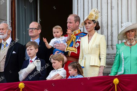 Prince Michael of Kent, Albert Windsor, Prince William, Catherine Duchess of Cambridge, Prince Louis, Prince George, Princess Charlotte and Camilla Duchess of Cornwall