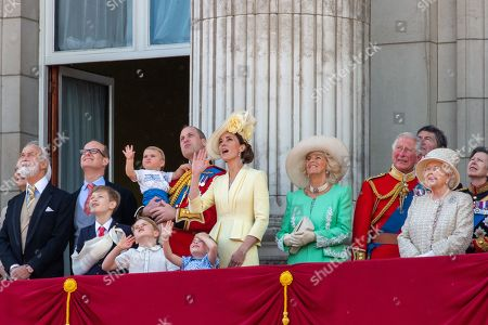 Prince Michael of Kent, Prince William, Albert Windsor, Catherine Duchess of Cambridge, Prince Louis, Prince George, Princess Charlotte, Camilla Duchess of Cornwall, Prince Charles and Queen Elizabeth II