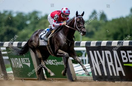 Elmont, NY, U.S. - , #2, Midnight Bisou, ridden by jockey Mike Smite, wins the Ogden Phipps Stakes on Belmont Stakes Festival Saturday at Belmont Park in Elmont, New York. Scott Serio/Eclipse Sportswire/CSM