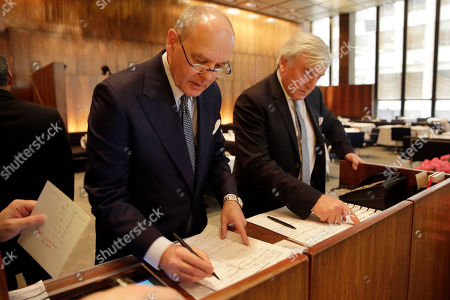 """Stock Image of Alex von Bidder, Julian Niccolini. Four Seasons restaurant co-owners Alex von Bidder, left, and Julian Niccolini look over the luncheon reservations lists at the restaurant in New York. The famed restaurant is closing less than a year after it reopened in a new location. The New York Times reports that the midtown Manhattan restaurant known as the original power lunch destination will close . Von Bidder told the Times that the revamped restaurant had a great team in place but """"just couldn't make it."""" Niccolini, resigned last December amid sexual misconduct allegations"""