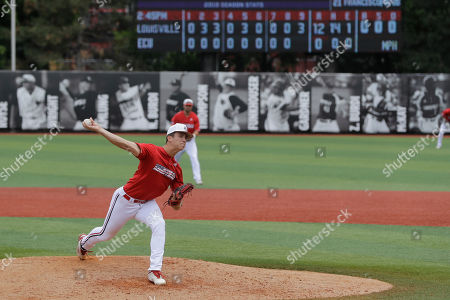 Louisville's Bobby Miller throws during the ninth inning in Game 2 of an NCAA college baseball super regional tournament against East Carolina, in Louisville, Ky. Louisville won 12-0