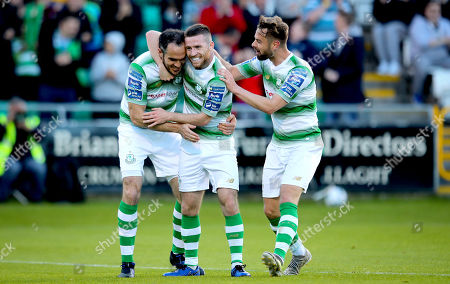 Stock Picture of Shamrock Rovers vs Derry City. Rovers' Jack Byrne celebrates scoring the second goal of the game with Joey O'Brien and Greg Bolger
