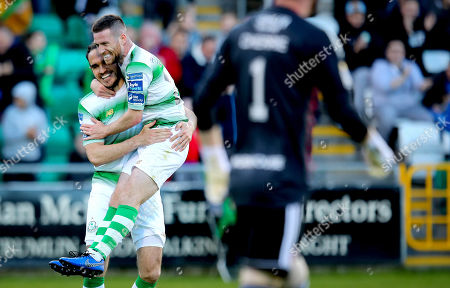 Stock Photo of Shamrock Rovers vs Derry City. Rovers' Jack Byrne celebrates scoring the second goal of the game with Joey O'Brien