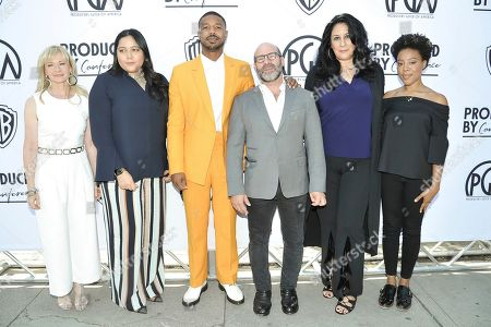 Kia Kiso, Shivani Rawat, Michael B. Jordan, Scott Z. Burns, Bonnie Abaunza, Alano Mayo. Kia Kiso, from left, Shivani Rawat, Michael B. Jordan, Scott Z. Burns, Bonnie Abaunza and Alano Mayo attend the Produced By Conference 2019, in Burbank, Calif