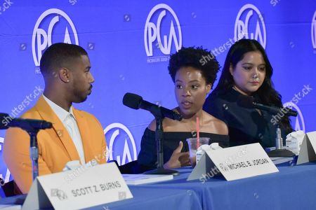 "Michael B. Jordan, Alano Mayo, Shivani Rawat. Michael B. Jordan, from left, Alano Mayo and Shivani Rawat participate in ""Content With A Conscience"" panel at the Produced By Conference 2019, in Burbank, Calif"