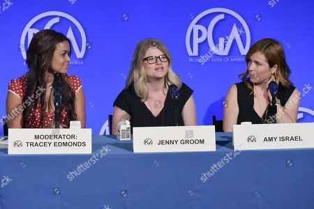 "Tracey Edmonds, Jenny Groom, Amy Israel. Tracey Edmonds, from left, Jenny Groom, and Amy Israel participate in the ""Meet The Buyers"" panel during the Produced By Conference 2019, in Burbank, Calif"