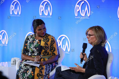 Stock Image of Mindy Kaling, Nancy Meyers. Mindy Kaling and Nancy Meyers speak at the Produced By Conference at Warner Bros. Studios, in Burbank, California