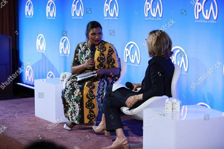 Stock Picture of Mindy Kaling, Nancy Meyers. Mindy Kaling and Nancy Meyers speak at the Produced By Conference at Warner Bros. Studios, in Burbank, California