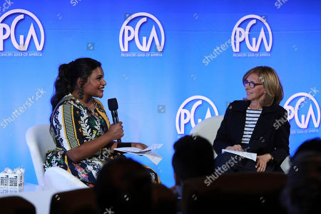 Mindy Kaling, Nancy Meyers. Mindy Kaling and Nancy Meyers speak at the Produced By Conference at Warner Bros. Studios, in Burbank, California