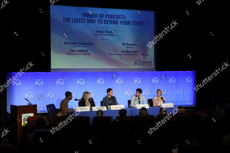 Sanjay Sharma, Alexandra Cunningham, Chris Gilberti, Eli Horowitz, Yeardly Smith attend the Produced By Conference at Warner Bros. Studios, in Burbank, California