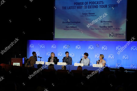 Stock Photo of Sanjay Sharma, Alexandra Cunningham, Chris Gilberti, Eli Horowitz, Yeardly Smith attend the Produced By Conference at Warner Bros. Studios, in Burbank, California