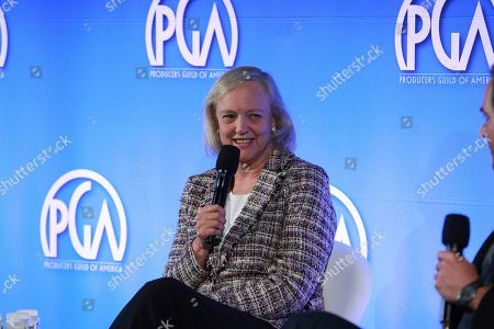 Meg Whitman speaks at the Produced By Conference at Warner Bros. Studios, in Burbank, California