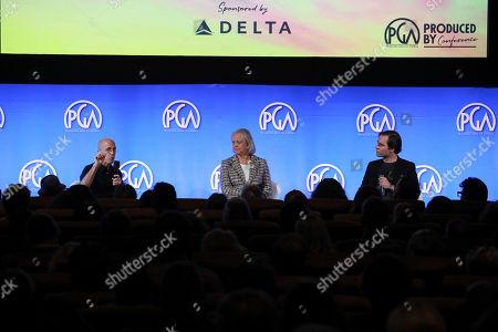 Jeffrey Katzenberg, Meg Whitman, Andrew Nusca speak at the Produced By Conference at Warner Bros. Studios, in Burbank, California