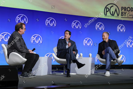 Pete Hammond, Peter Roth, Toby Emmerich. Pete Hammond, Peter Roth, and Toby Emmerich speak at the Produced By Conference at Warner Bros. Studios, in Burbank, California