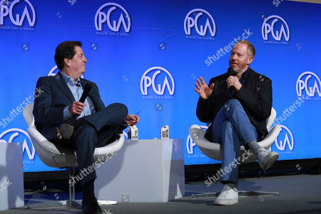 Peter Roth, Toby Emmerich. Peter Roth and Toby Emmerich speak at the Produced By Conference at Warner Bros. Studios, in Burbank, California
