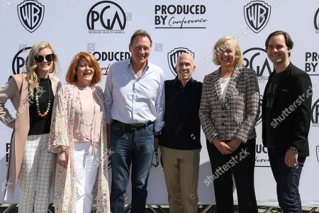 Jessamy S. Ross, Seven N. Leipziger, Vance Van Petten, Jeffrey Katzenberg, Meg Whitman, and Andrew Nusca attend the Produced By Conference at Warner Bros. Studios, in Burbank, California
