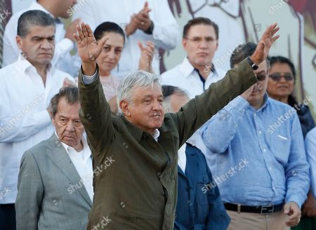 "Stock Picture of Mexican President Andres Manuel Lopez Obrador receives the applause of the crowd during a rally in Tijuana, Mexico, . Mexican President Andres Lopez Obrador held the rally in Tijuana even as President Trump has put on hold his plan to begin imposing tariffs on Mexico on Monday, saying the U.S. ally will take ""strong measures"" to reduce the flow of Central American migrants into the United States"