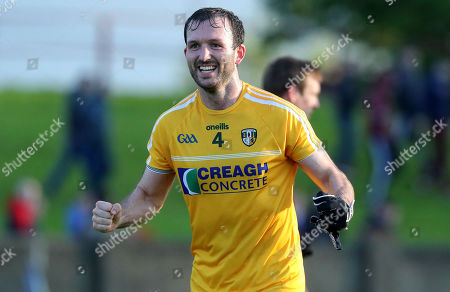 Stock Photo of Louth vs Antrim. Antrim's Patrick Gallagher celebrates after the game