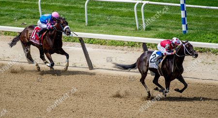 Stock Image of Elmont, NY, U.S. - , #2, Midnight Bisou, ridden by jockey Mike Smite, wins the Ogden Phipps Stakes on Belmont Stakes Festival Saturday at Belmont Park in Elmont, New York. John Voorhees/Eclipse Sportswire/CSM