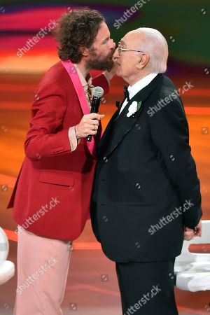 Stock Photo of Lorenzo Jovanotti and Pippo Baudo
