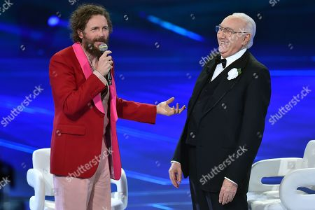 Stock Picture of Lorenzo Jovanotti and Pippo Baudo