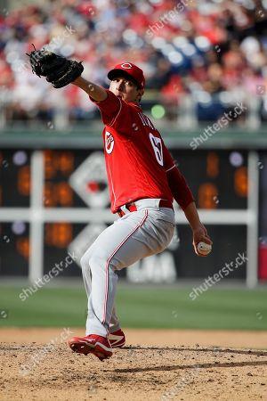Cincinnati Reds relief pitcher Matt Bowman in action during a baseball game against the Philadelphia Phillies, in Philadelphia