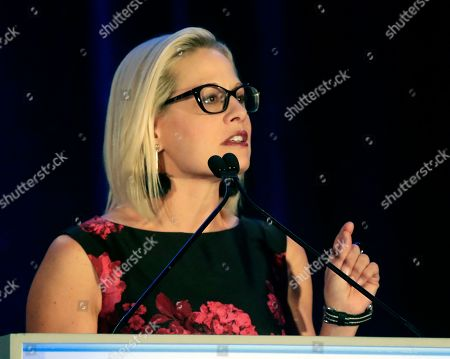 Sen. Kyrsten Sinema, D-Ariz. speaks at the Florida Democratic Party state conference, in Orlando, Fla