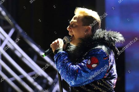 Stock Photo of Cristian Castro performs live on stage at the 2019 LA Pride Parade and Festival, in West Hollywood, Calif