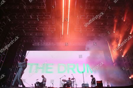Stock Photo of Jonathan Pierce, The Drums, Adam Kessler, Jacob Graham, Connor Hanwicks. The Drums performs live on stage at the 2019 LA Pride Parade and Festival, in West Hollywood, Calif