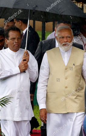 Sri Lankan President Maithripala Sirisena (L) is accompanied by visiting Indian Prime Minister Narendra Modi (R) at the Presidential Secretariat at Galle Face in Colombo, Sri Lanka 09 June 2019. Indian Prime Minister Narendra Modi arrived on the island for a short visit after touring the Maldives. This visit to Sri Lanka is his second international visit, since becoming Prime Minister of India for the second term.