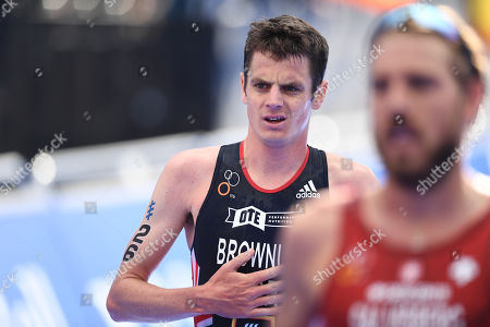 Jonathan Brownlee of Great Britain shows a look of dejection upon finishing the Men's Elite race.