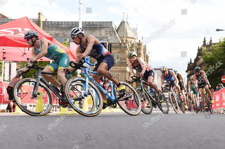 Jonathan Brownlee of Great Britain during the cycling part of the Men's Elite race.