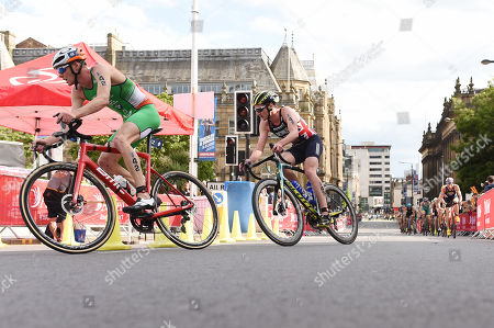 Alistair Brownlee of Great Britain during the cycling part of the Men's Elite race.
