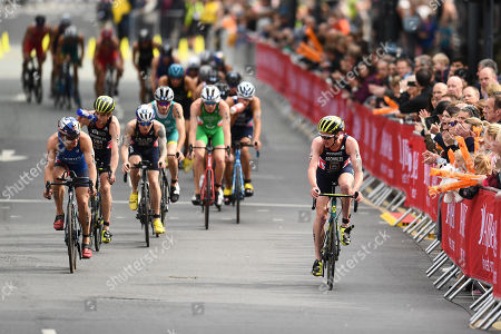 Stock Image of Alistair Brownlee of Great Britain gets caught by the chasing pack during the Men's Elite race.