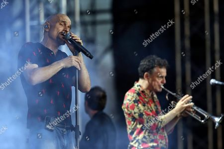 On, British singer Tim Booth of the band James performs on stage during the Release Festival in Athens