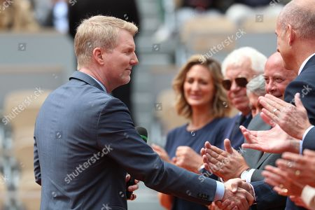 Former US tennis player Jim Courier during a ceremony to celebrate his induction into the International Tennis Hall of Fame prior to the men?s final match during the French Open tennis tournament at Roland Garros in Paris, France, 09 June 2019.